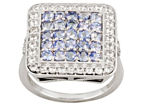 Pre-Owned Blue Tanzanite And White Zircon Sterling Silver Ring 1.91ctw