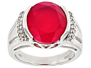 Pre-Owned Pink Onyx And White Zircon Sterling Silver Ring .21ctw