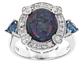 Pre-Owned Australian Opal Triplet Sterling Silver Ring 1.02ctw