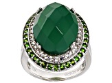 Pre-Owned Green Onyx Sterling Silver Ring 1.06ctw