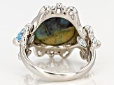 Pre-Owned Blue Indonesian Opal In Matrix Rhodium Over  Silver Ring .85ctw