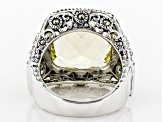 Pre-Owned Yellow quartz sterling silver ring 9.71ct
