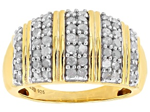 Pre-Owned White Diamond 14k Yellow Gold Over Sterling Silver Ring .95ctw
