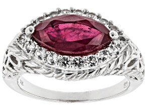 Pre-Owned Red Mahaleo(R) ruby rhodium over silver ring 2.31ctw