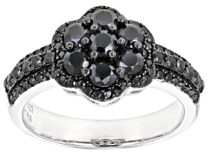 Pre-Owned Black spinel rhodium over silver ring 1.49ctw