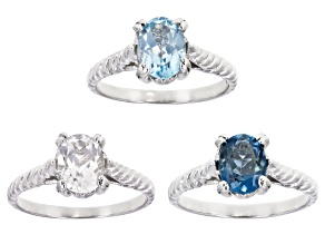 Pre-Owned  London Blue, Glacier Topaz(TM) And White Topaz Rhodium Over Silver Set of 3 Rings 3.4ctw