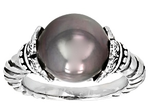 Pre-Owned Cultured Tahitian Pearl Rhodium Over Sterling Silver Ring 11-12mm