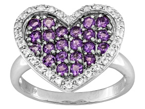 Pre-Owned Orchid Amethyst And White Topaz Sterling Silver Heart Ring .79ctw
