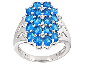 Pre-Owned Blue Neon Apatite Sterling Silver Ring 2.86ctw