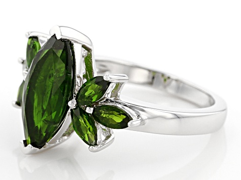 Pre-Owned Green Russian Chrome Diopside Rhodium Over Silver Ring 3.41ctw