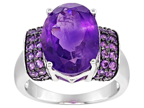 Pre-Owned Purple Amethyst Sterling Silver Ring 5.10ctw.