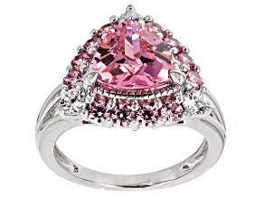 Pre-Owned Pink And White Cubic Zirconia Rhodium Over Sterling Silver Ring 5.73ctw