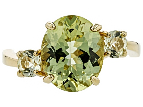 Pre-Owned Yellow Apatite 18k Gold Over Silver Ring 3.55ctw