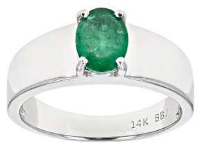 Pre-Owned Green Ethiopian Emerald Rhodium Over 14k White Gold Gent's Ring .98ct