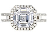 Pre-Owned White Cubic Zirconia Rhodium Over Sterling Silver Center Design Asscher Cut Ring 8.50ctw