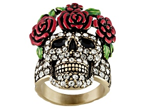 Pre-Owned Multicolor Enamel White Crystal Antique Bronze Tone Day Of The Dead Skull Ring