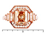 Pre-Owned Brown And White Cubic Zirconia 18k Rose Gold Over Silver Ring 5.10ctw (4.00ctw DEW)