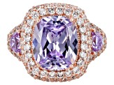 Pre-Owned Lavender & White Cubic Zirconia 18K Rose Gold Over Sterling Silver Center Design Ring 14.7