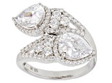Pre-Owned White Cubic Zirconia Rhodium Over Sterling Silver Ring 6.72CTW