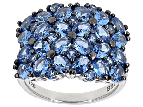 Pre-Owned Blue spinel rhodium over sterling silver ring 3.71ctw