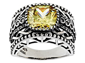 Pre-Owned Yellow And White Cubic Zirconia Rhodium Over Sterling Silver Ring 6.63ctw