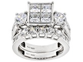 Pre-Owned White Cubic Zirconia Rhodium Over Sterling Silver Ring 5.92ctw