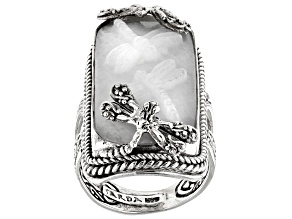 Pre-Owned White Quartz Dragonfly Silver Ring
