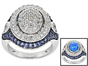 Pre-Owned Synthetic Blue Opal/Lab Created Sapphire/White Cubic Zirconia Rhodium Over Silver Ring 3.8