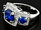 Pre-Owned Blue And White Cubic Zirconia Silver Ring 5.98ctw