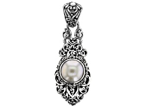 Pre-Owned White Mabe Pearl Silver Pendant