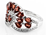 Pre-Owned Red Garnet Sterling Silver Ring 3.71ctw