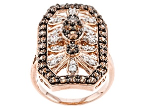 Pre-Owned Brown And White Cubic Zirconia 18k Rose Gold Over Silver Ring 3.04ctw (1.44ctw DEW)