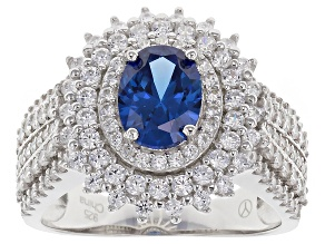 Pre-Owned Blue And White Cubic Zirconia Rhodium Over Silver Ring 4.24ctw