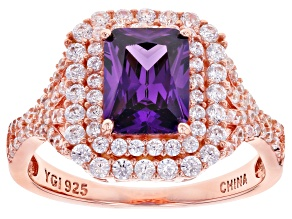 Pre-Owned Purple And White Cubic Zirconia 18k Rose Gold Over Sterling Silver Ring 4.24ctw