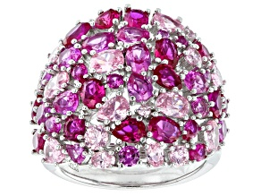 Pre-Owned Pink Cubic Zirconia And Pink Lab Created Sapphire Rhodium Over Sterling Silver Ring 12.17c