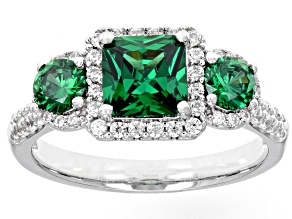 Pre-Owned Green & White Cubic Zirconia Rhodium Over Sterling Silver Center Design Ring 2.90ctw