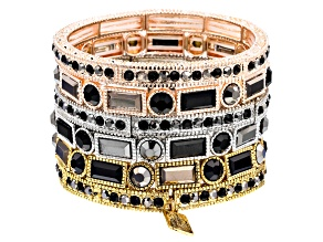 Pre-Owned Black & Silver Crystal Three-Tone Stretch Bracelet Set Of 6