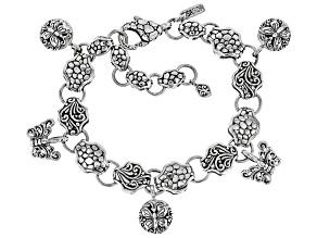 Pre-Owned Sterling Silver Butterfly Charm Bracelet