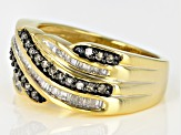 Pre-Owned Champagne and White Diamond 14k Yellow Gold Over Sterling Silver Ring 0.55ctw