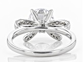 Pre-Owned White Cubic Zirconia Rhodium Over Sterling Silver Center Design Ring 3.64ctw.