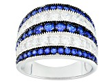 Pre-Owned Blue And White Cubic Zirconia Rhodium Over Silver Ring 3.15ctw