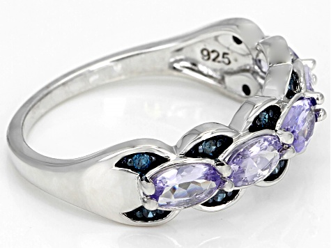Pre-Owned Blue tanzanite rhodium over silver ring 1.03ctw