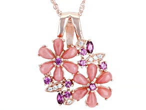 Pre-Owned Pink Opal 18k Rose Gold Over Sterling Silver Pendant with Chain .58ctw