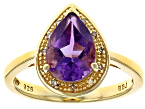 Pre-Owned Purple amethyst 18k yellow gold over silver ring 1.56ctw
