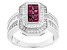 Pre-Owned Red And White Cubic Zirconia Rhodium Over Silver Ring 1.95ctw