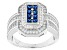 Pre-Owned Blue And White Cubic Zirconia Rhodium Over Silver Ring 1.95ctw