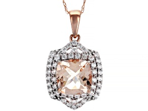 Pre-Owned Pink Morganite 10k Rose Gold Pendant With Chain 2.93ctw
