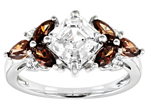 Pre-Owned Imperial Mosaic Cut White and Caramel Zirconia From Swarovski ® Rhodium Over Sterling Silv