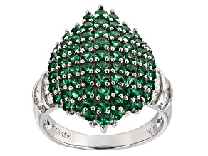 Pre-Owned Green And White Cubic Zirconia Rhodium Over Silver Ring 2.19ctw