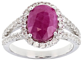Pre-Owned Red Burmese Ruby Rhodium Over Sterling Silver Ring 4.70ctw